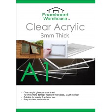 A1 (840 x 594mm) 3mm Clear Acrylic Perspex (Single Sheet)
