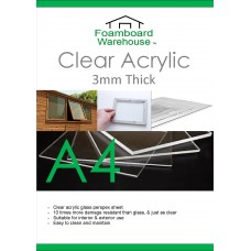 A4 (297 x 210mm) 3mm Clear Acrylic Perspex (Single Sheet)