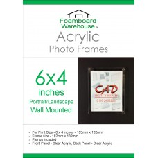 6'' x 4''  Landscape/Portrait Wall Mounted Acrylic Photo Frame