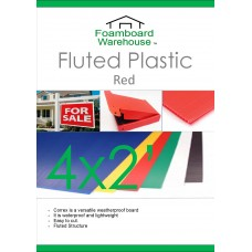 2' x 4' (610 x 1220mm) 4mm RED Strong Corrugated Fluted Plastic - Single Sheet