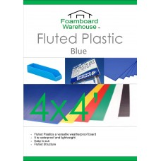 4' x 4' (1220 x 1220mm) 4mm BLUE Strong Corrugated Fluted Plastic - Single Sheet