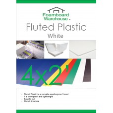 2' x 4' (610 x 1220mm) 4mm WHITE Strong Corrugated Fluted Plastic - Single Sheet