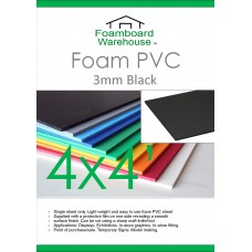 4' x 4' (1220 x 1220mm) 3mm BLACK Foam PVC - Single Sheet