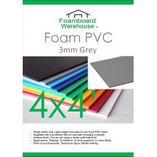4' x 4' (1220 x 1220mm) 3mm GREY Foam PVC - Single Sheet