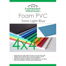 4' x 4' (1220 x 1220mm) 5mm LIGHT BLUE Foam PVC - Single Sheet