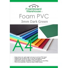 A4 (297 x 210mm) 3mm DARK GREEN Foam PVC - Single Sheet