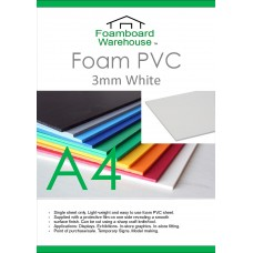 A4 (297 x 210mm) 3mm WHITE Foam PVC - Single Sheet
