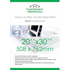 20 x 30 inches 508mm x 762mm 5mm White Foamboard Packed 20s Small Box Pack