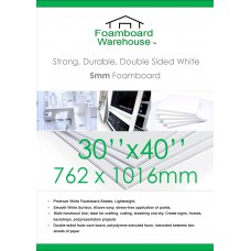 30 x 40 inches 762mm x 1016mm 5mm White Foamboard Packed 10s Small Box