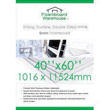 40 x 60 inches 1524mm x 1016mm 5mm White Foamboard Packed 10s
