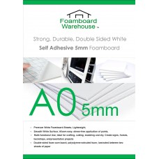 A0 (1188 x 840mm) 5mm White Self Adhesive Foamboard (10 Sheets)