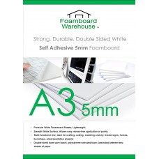 A3 (420mm x 297mm) 5mm White Self Adhesive Foamboard (10 Sheets)