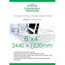 8' x 4' (1220 x 2440mm) 5mm White Foamboard Packed 25s