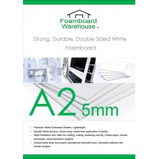 A2 420mm x 594mm 5mm White Foamboard Packed 20s