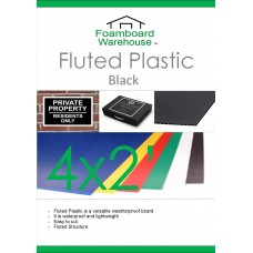 2' x 4' (610 x 1220mm) 4mm BLACK Strong Corrugated Fluted Plastic - Single Sheet