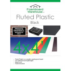 4' x 4' (1220 x 1220mm) 4mm BLACK Strong Corrugated Fluted Plastic - Single Sheet