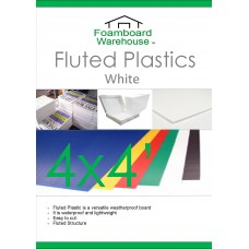 4' x 4'(1220 x 1220mm) White Fluted Plastic Sheet