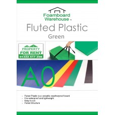 A0 (1188 x 840mm) 4mm GREEN Strong Corrugated Fluted Plastic - Single Sheet