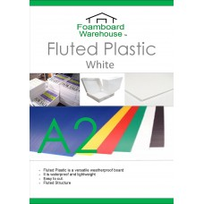 A2 (594 x 420mm) 4mm WHITE Strong Corrugated Fluted Plastic - Single Sheet